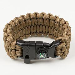 """Fibex FSB0003 Быстрорасплетающийся браслет выживания, плетение """"Петли"""" со свистком, огнивом и компасом"""