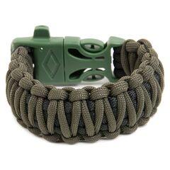 """EDCX Браслет з паракорду FSB0053, плетіння """"Подвійна кобра"""" зі свистком, кресалом та компасом"""