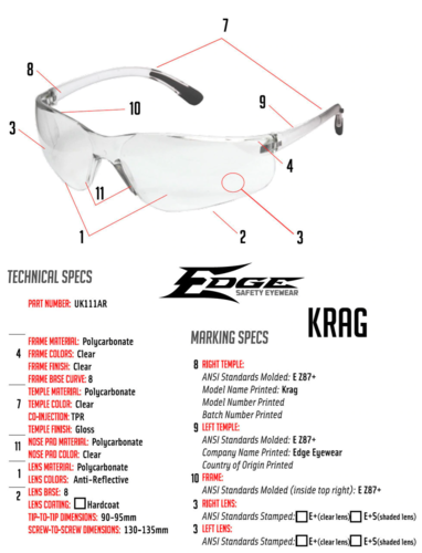 Ціна Окуляри та маски / Edge KRAG Ballistic Anti-Fog Safety Glasses UK111AF