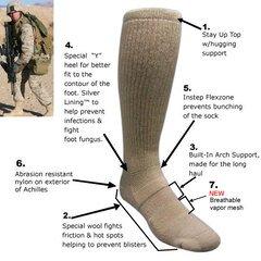 Антибактеріальні шкарпетки Covert Threads Sand Military Boot Sock